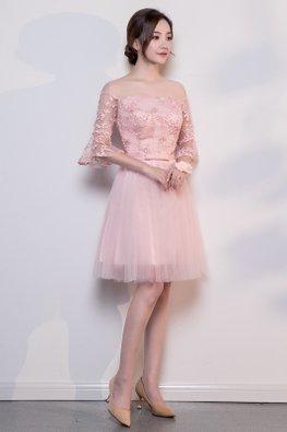 Pink Off-Shoulder Trumpet Sleeves Ribbon Lace-up Dress
