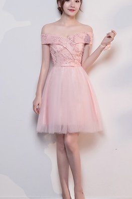 Pink Off-Shoulder Ribbon Lace-up Bow Dress