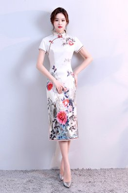 Light Yellow Red Trimmings Painting Cheongsam