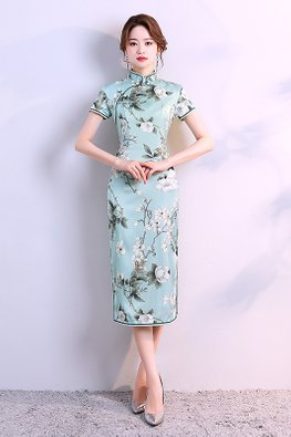 Green Trimmings Mandarin Collar Floral Cheongsam