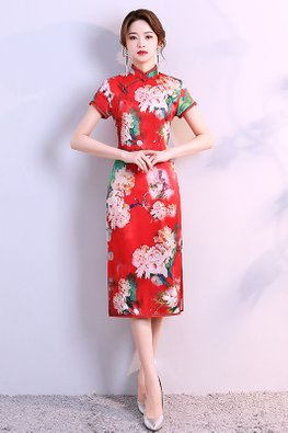 Blue / Red Short Sleeves Side Slit Cheongsam