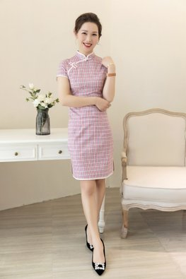 Pink Trimmings Mandarin Collar Small Checkered Cheongsam