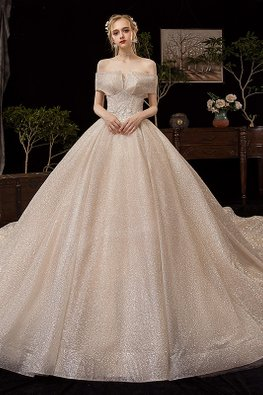 Sweetheart Off-Shoulder Overlay Glitter Wedding Gown