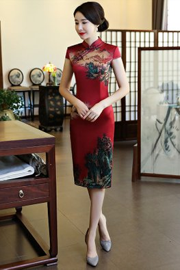Dark Red Mandarin Collar Cap Sleeves Village Painting Cheongsam (Express)