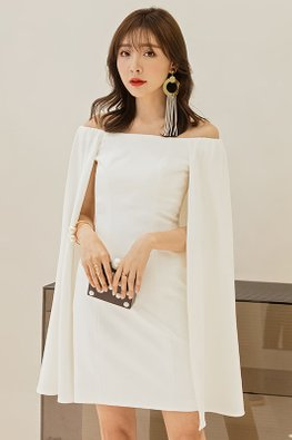 White Off-Shoulder Cape Sleeves Dress