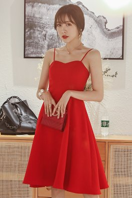 Red Sweetheart Strap A-Line Dress