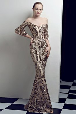 Gold Off-Shoulder Trumpet Sleeves Sequins Embroidery Mermaid Gown