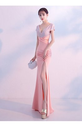 Pink / White V-Plunge Cap Sleeves Peekaboo High Slit Dress
