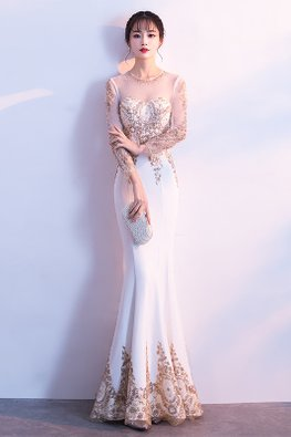 Champagne Illusion Long Sleeves Embroidery Mermaid Gown