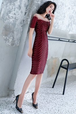 Wine Red Illusion Sleeves Patterned Sequins Gown