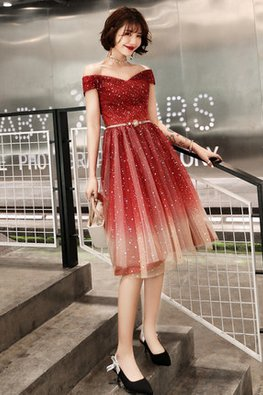 Wine Red / Black Off-Shoulder Twinkle Ombre Lace-Up Gown