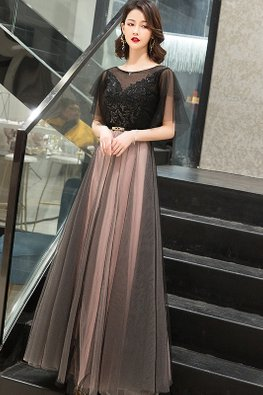 Black Illusion Wide Sleeves V-Back Mesh Gown