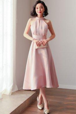 Pink / Champagne Halter Neckline Peekaboo Front Gown