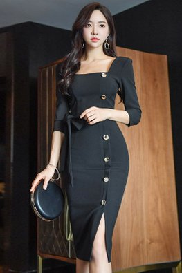 Black Square Neckline Side Button Down Sheath Dress