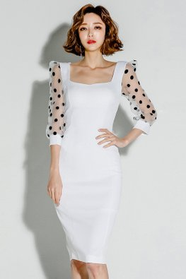 White Square Neckline Illusion Polka Dot Sleeves Dress
