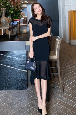 Black Illusion Sweetheart Cap Sleeves Mermaid Dress