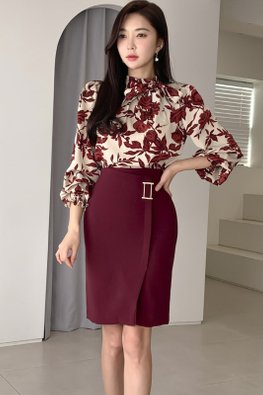 2-Pc Red High Neck Ribbon Tie Floral Top + Skirt