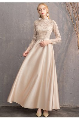 Khaki Mandarin Collar Illusion Long Sleeves Gown