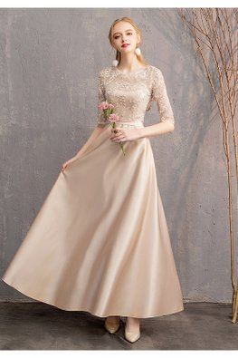Khaki Round Illusion Elbow Sleeves Gown