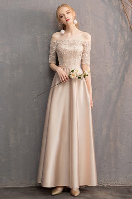 Khaki Off-Shoulder Elbow Sleeves Gown