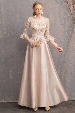 Khaki Illusion Elbow Trumpet Sleeves Gown