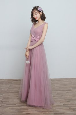 Dusty Pink V-Neck Side Ribbon Bow Lace-up Gown