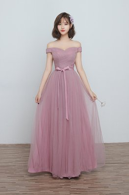 Dusty Pink Off-Shoulder Ribbon Lace-up Gown