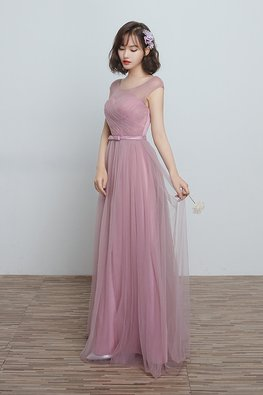 Dusty Pink Illusion Sweetheart Ribbon Bow Lace-up Gown