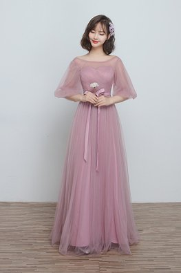 Dusty Pink Illusion Sweetheart Puff Sleeves Lace-up Gown