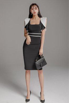 Black White Square Neckline Ruffles Folded Sleeves Dress