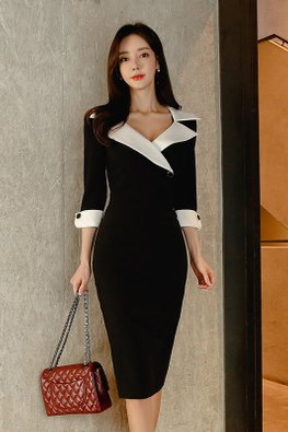 Black White V-Collar 3/4 Sleeves Sheath Dress