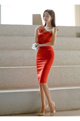 Orange Red One-Shoulder Ribbon Front Sheath Dress