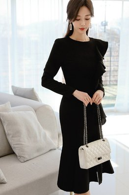 Black Long Sleeves Side Ruffles Front Slit Dress