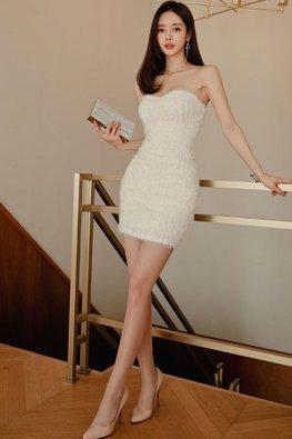 White Sweetheart Feather Mini Dress