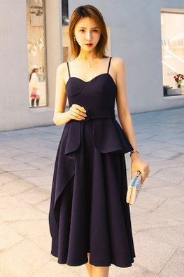 Midnight Blue Bustier Strap Belted Dress
