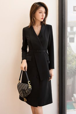 Black V-Lapel Long Sleeves Belted Dress
