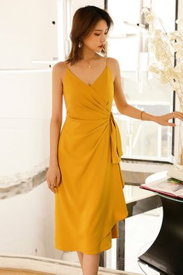 Ginger Yellow V-Strap Side Gather Dress