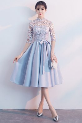 Light Grey Illusion Mandarin Collar Ribbon Pleated Dress (Express)