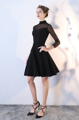 Black High Neck Dotted Illusion Sleeves Mini Gown