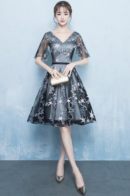 Black V-Neck Wide Sleeves Stars Gown