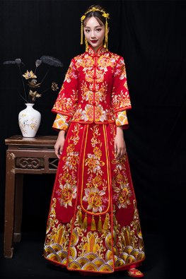 Red Double Inner-Pleated Bottom Floral Embroidery Kua
