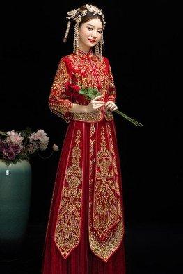 Red Double Tassel Sleeves Pleated Embroidery Glitter Kua