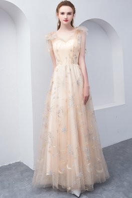 Champagne Sweetheart Illusion Shoulder-Tie Fairy Gown