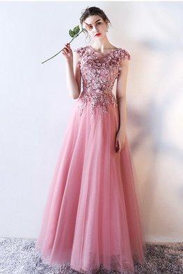 Pink Illusion Neckline 3D Florals Mesh Gown