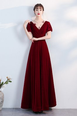 Wine Red V-Illusion Neckline 3D Embellishments Velvet Gown