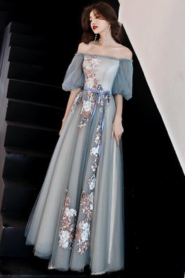 Grey Off-Shoulder Puff Sleeves Embroidery Mesh Gown