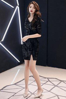 Almond / Black V-Neck Elbow Sleeves Sequins Front Slit Dress