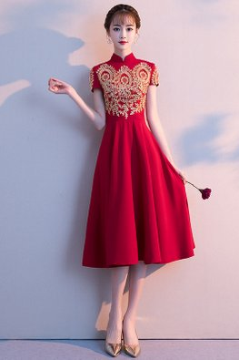 Wine Red Mandarin Collar Short Sleeves Embroidery Dress