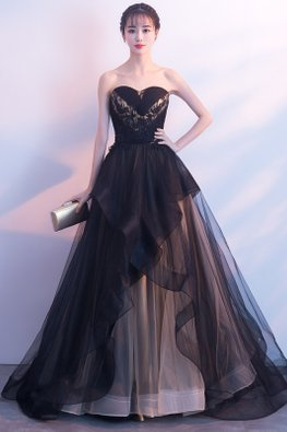 Black Sweetheart Criss-Cross Layered Tulle Gown