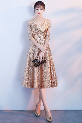 Gold V-Neck Elbow Sleeves Patterned Sequins Embroidery Dress